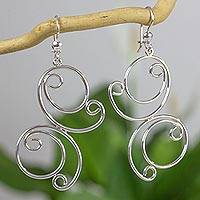 Sterling silver dangle earrings, 'Playful Butterflies' - Shiny Butterfly Earrings Hand Crafted in Sterling Silver