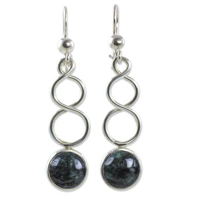 Sterling Silver Earrings with Dark Green Guatemalan Jade