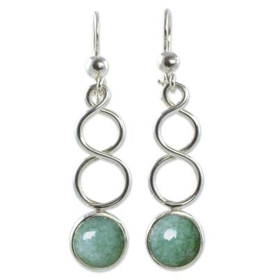 Sterling Silver Earrings with Light Green Guatemalan Jade