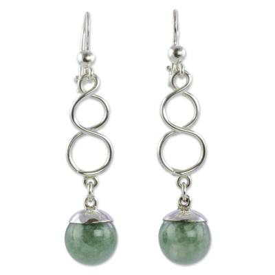 Guatemalan Jade on Sterling Silver Hook Earrings