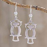 Sterling silver dangle earrings, 'Maya Owl' - Guatemalan Sterling Silver Owl Shape Earrings