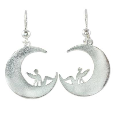 Fairies on Sterling Silver Crescent Moon Hook Earrings