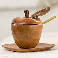 Wood sugar bowl and saucer, Autumn Apple (4 pieces)