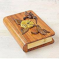 Wood box, 'Book of Hummingbirds' - Book Shaped Artisan Crafted Hummingbird Theme Wood Box