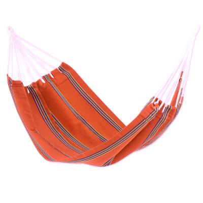 Hand Loomed Orange Striped Single Acrylic Hammock