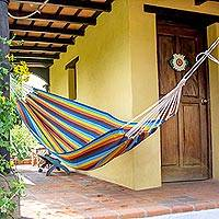 Handwoven hammock, 'Country Roads' (single) - Nature Inspired Handwoven Striped Hammock (Single)