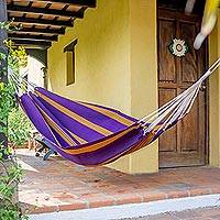 Handwoven hammock, 'Romantic Sunset' (single) - Purple Hand Woven Guatemalan Fabric Hammock (Single)