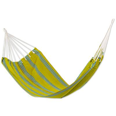 Handwoven Single Hammock in Chartreuse and Turquoise