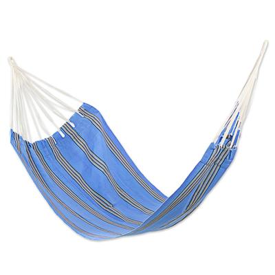 Handwoven Single Acrylic Hammock in Blue and Beige