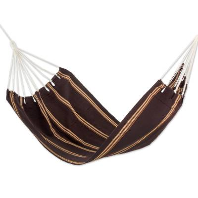 Hand Woven Espresso Striped Hammock (Single) Guatemala