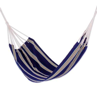 Hand Woven Navy Blue Striped Hammock (Single) from Guatemala