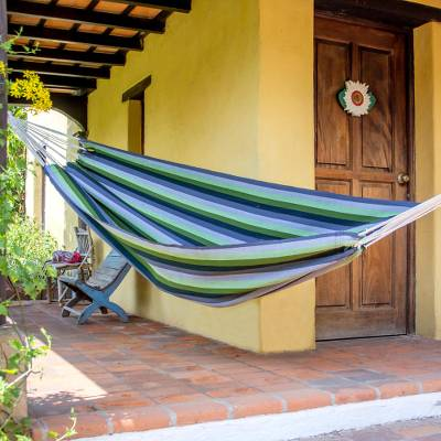 Handwoven hammock, 'Laurel Leaf' (single) - Handwoven Single Acrylic Hammock in Greens and Greys