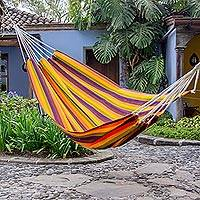 Handwoven hammock, 'Guatemalan Sunset' (single) - Bright Striped Multicolor Handwoven Guatemalan Hammock