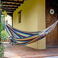 Handwoven hammock, 'Tropical Breeze' (single) - Nature Inspired Handwoven Striped Single Hammock