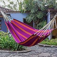 Acrylic hammock, 'Boysenberry Volcano' (single) - Purple Multicolor Stripes Fabric Hammock (Single) Guatemala