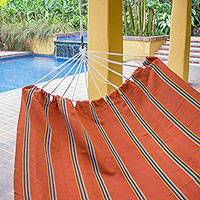 Handwoven hammock, 'Sunset Vista' (double) - Hand Loomed Orange Striped Double Acrylic Hammock