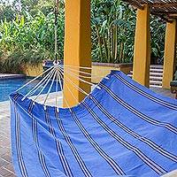 Handwoven hammock, 'Sky and Sea' (double) - Hand Woven Double Acrylic Hammock in Blue and Beige