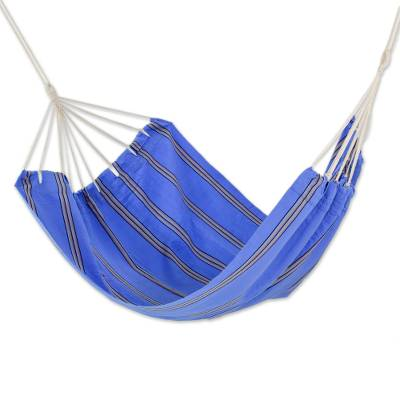 Hand Woven Double Acrylic Hammock in Blue and Beige