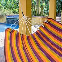 Handwoven hammock, 'Guatemalan Sunset' (double) - Handwoven Guatemalan Bright Striped Multicolor Hammock