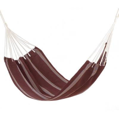 Handwoven Brown Striped Single Cotton Hammock