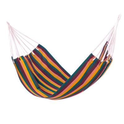Guatemalan Handwoven Striped Cotton Hammock (Single)