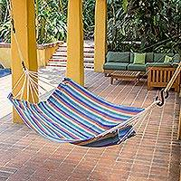 Cotton hammock, 'Sun and Sea' (single) - Multicolor Stripe All Cotton Hammock from Guatemala (Single)