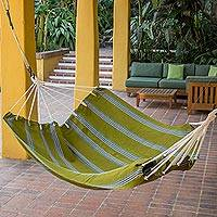 Cotton hammock, 'Olives and Palm Trees' (double) - Guatemalan Hand Woven Double Size Fabric Green Hammock