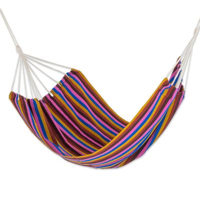 Hand Woven Multicolor Striped Double Hammock from Guatemala