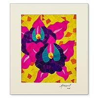 Natural fiber collage, 'Siuna Orchids' - Signed Natural Fiber Collage Wall Art of Orchid Flowers