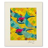 Natural fiber collage, 'Blue Swallows' - Natural Fibers Swallow Bird Collage from Central America