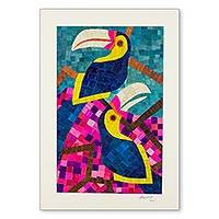 Natural fiber collage, 'Tropical Toucans' - Signed Toucan Bird Collage in Natural Fibers from Nicaragua