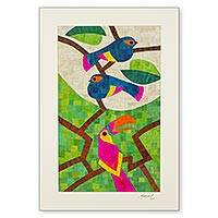 Natural fiber collage, 'Rain Forest Birds' - Signed Nicaraguan Bird Mosaic Natural Fiber Collage