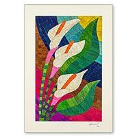 Natural fiber collage, 'Calla Lily Trio' - Natural Fiber Signed Lily Collage Artwork from Nicaragua