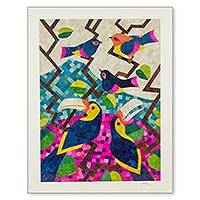 Natural fiber collage, 'Birds of Nicaragua' - Nicaraguan Natural Fiber Mosaic Collage of Various Birds