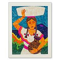 Natural fiber collage, 'Nicaraguan Merchant Woman' - Signed Natural Fiber Collage Portrait of Nicaraguan Woman