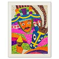 Natural fiber collage, 'Gueguense Folk Dancer' - Nicaraguan Gueguense Dance Natural Fiber Collage