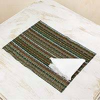 Cotton placemats and napkins, 'Kaqchikel Stars' (set for 4) - Handwoven Cotton Placemats and Napkins (Set for 4)