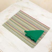 Cotton placemats and napkins, 'Kaqchikel Rainbow' (set for 4) - Fair Trade 100% Cotton Hand Woven Placemats and Napkins in G