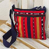Cotton shoulder bag, 'Coming and Going' - Backstrap Loom Handwoven Bright Red Cotton Shoulder Bag
