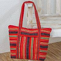 Cotton shoulder bag, 'Kaqchikel Scarlet' - Fair Trade Handwoven 100%Cotton Red Shoulder Bag Tote with M