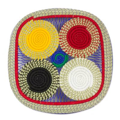 Artisan Crafted Multicolor Muhly Grass and Cotton Basket