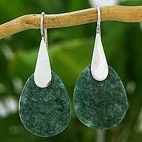 Jade dangle earrings, 'Yaxha Forest' - Handcrafted Green Jade and Silver Contemporary Earrings