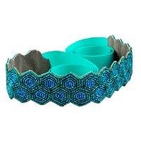Beaded belt, 'Hypnotic Honeycomb' - Beaded Belt in Turquoise and Green Crafted by Hand