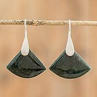 Jade dangle earrings, 'Cool Green Fan' - Contemporary Silver Dangle Earrings with Guatemalan Jade