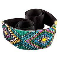 Beaded belt, 'Atitl�n Diamonds' - Guatemalan Multicolor Beaded Belt Crafted by Hand