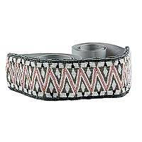 Beaded belt, 'Dynamic Pink and Grey' - Pink and Grey Artisan Crafted Beaded Belt from Guatemala