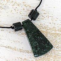 Jade pendant necklace, 'Bold Shadows' - Maya Style Dark Green Jade Pendant Necklace