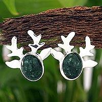 Jade button earrings, 'Maya Deer Dancer' - Modern Handcrafted Deer Theme Green Jade Earrings