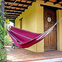 Handwoven hammock, 'Maroon Tropical Slumber' (single) - Hand Woven Maroon Guatemalan Fabric Single Hammock