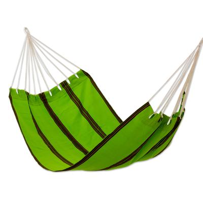 Green Hand Woven Guatemalan Fabric Hammock (Single)
